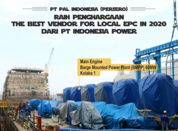 """Photo of PT PAL Indonesia (Persero) Raih """"The Best Vendor For Local EPC In 2020"""" dari PT Indonesia Power"""